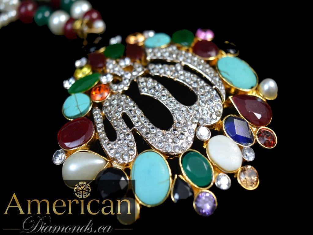 Allah pendant with multi stones 10795 americandiamonds allah pendant with multi stones 10795 aloadofball Images