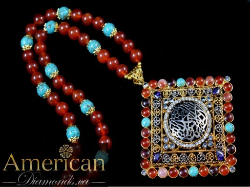 Aqeeq with multi stones kalima pendant - 10826