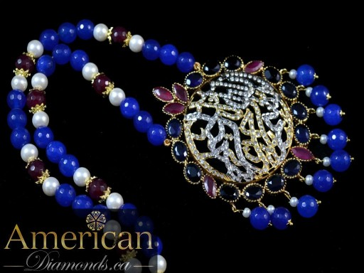 Sapphire and ruby gold plated kalima pendant - 10824