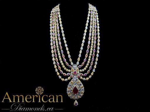 Ruby and champagne gold plated rani haar set - 10890