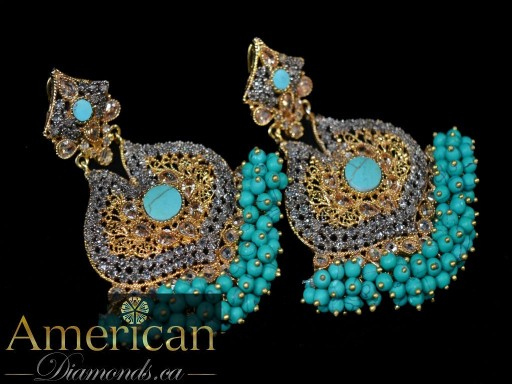 Sapphire and polki gold plated cluster bead earrings - 10726