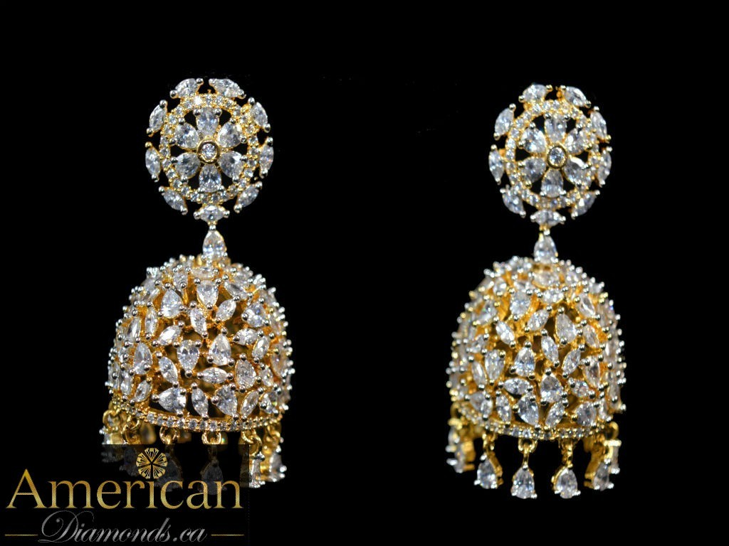 All over cz jhumka earrings