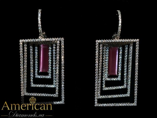 American diamonds 4D rectagnle earrings
