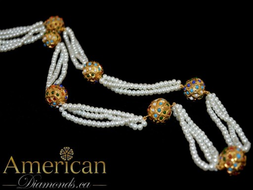 Multi color and pearl long necklace (Mala) - 10587