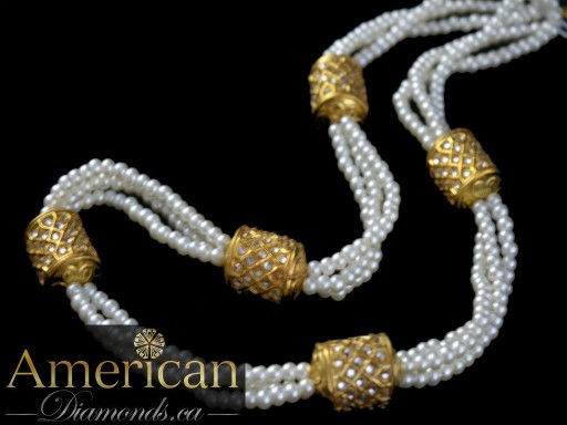 Pearl with kundan dholki long necklace (maala) - 10695