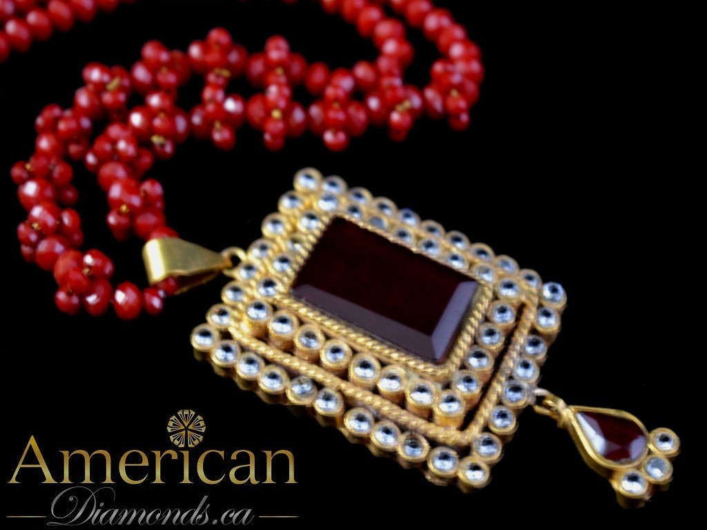Ruby and kundan gold plated pendant with earrings set - 10696