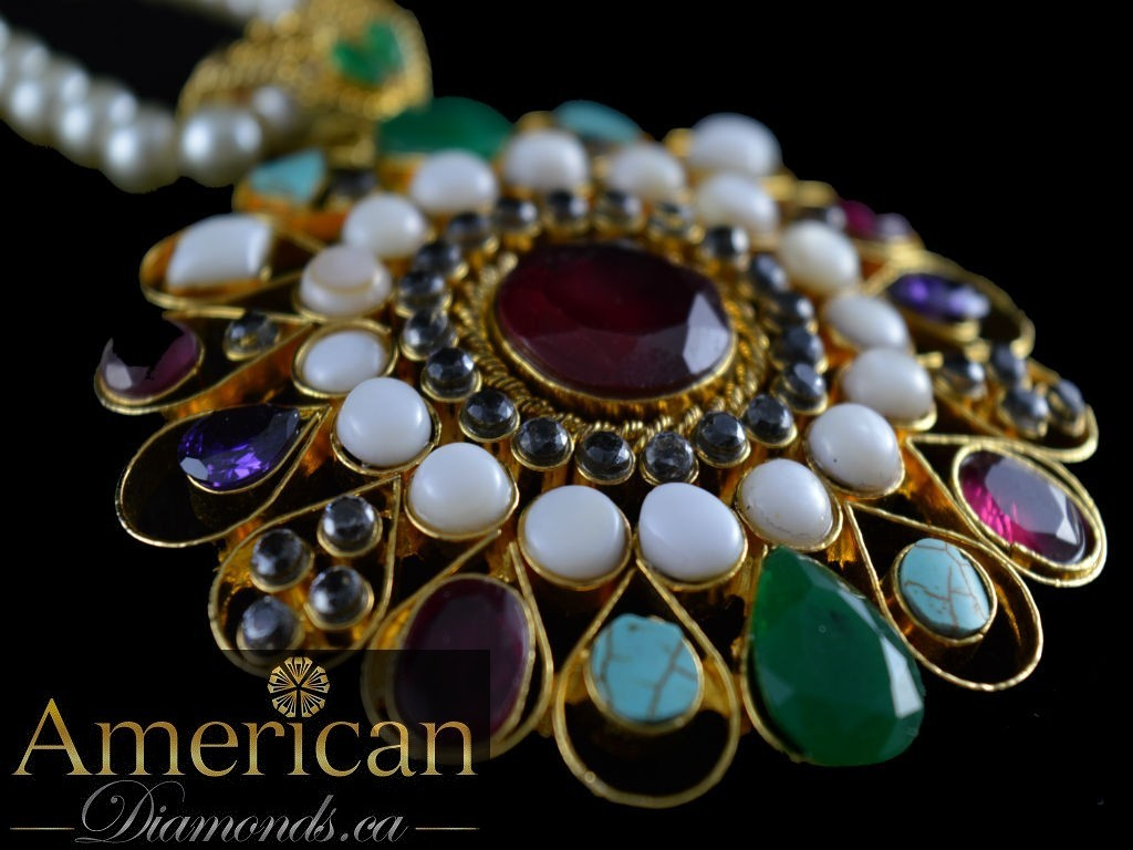 Multi stone kundan gold plated pendant with necklace (Mala) - 10705