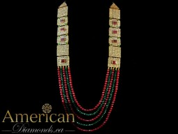 Kundan ruby and emerald gold plated long necklace and earrings set - 10728