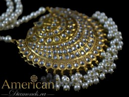 Thappa kundan and pearl necklace with earrings set - 10751