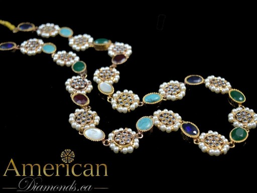 Multi stone kundan gold plated long necklace - 10783