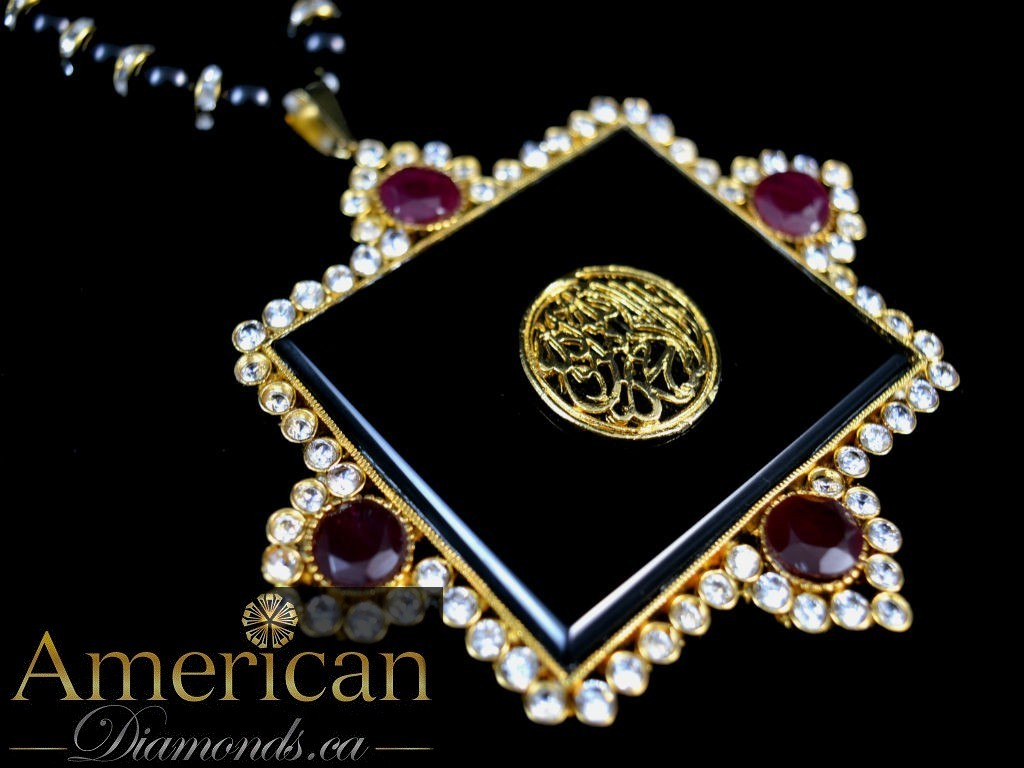 Black and ruby kalima pendant - 10797