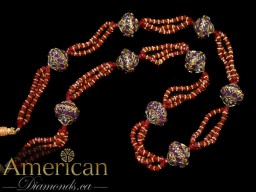 Ruby necklace with gold plated Moroccan balls - 10828