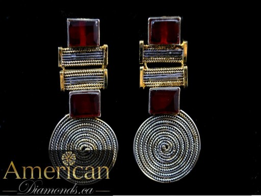 Garnet gold plated earrings - 10837