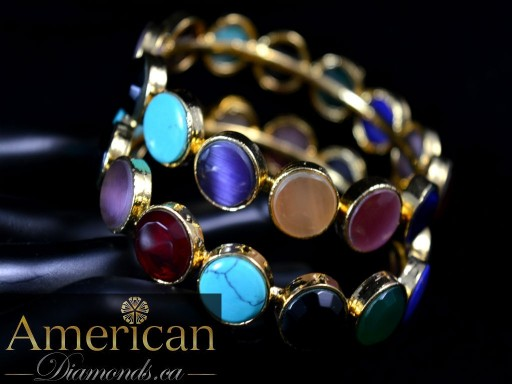 Multi stone single piece bangle - 10839