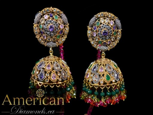 Multi polki gold plated jumky earrings and tikka set - 10951