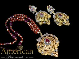 Ruby and polki gold plated pendant set with earrings - 10977