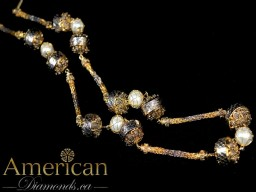 Pearls and Moroccan balls chain necklace - 10976