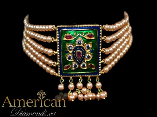 Meenakari choker and earrings set - 11103