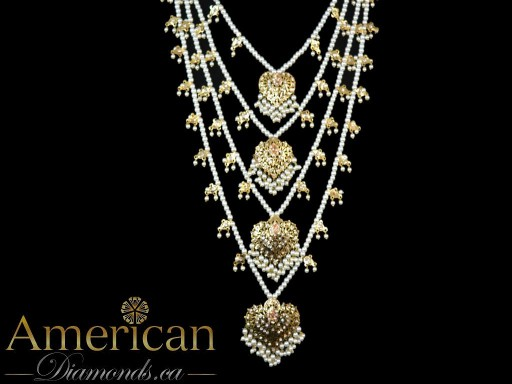Hyderabadi four layer necklace with long earrings set - 11129