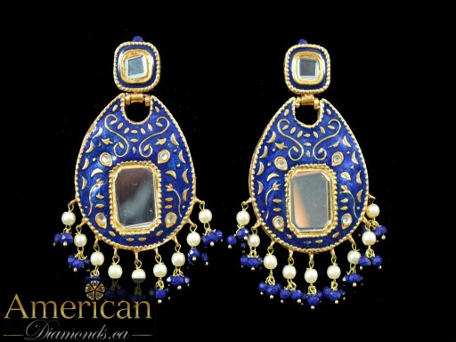 Dark Blue Meena Mirror Earrings