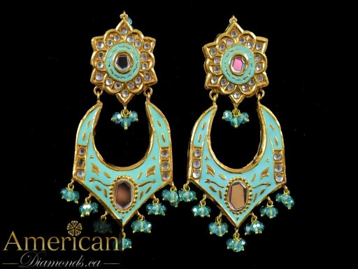 Light Blue Meena Mirror Earrings