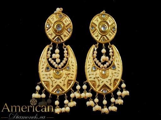 Tan Meena Mirror Earrings