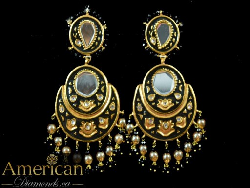 Black Meena Mirror Earrings
