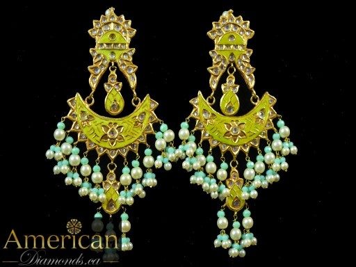 Yellow/Green Meena Mirror Earrings