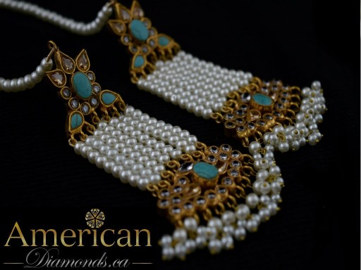 Feroza and pearl earrings with head piece (Jhoomer) set - 10593